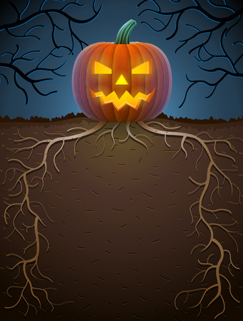 monstrous: Jack-o-lantern with roots in night lighting. Halloween template with monstrous pumpkin. Qualitative illustration for Halloween, scary stories, theme party, trick-or-treating, horror design, etc