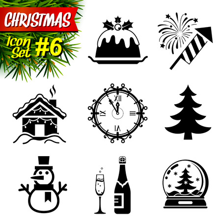 lodge: Set of black-and-white christmas icons. Collection of new year symbols.