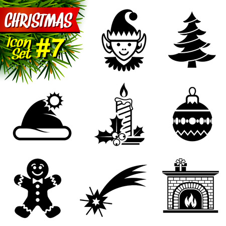 elf hat: Set of black-and-white christmas icons. Collection of new year symbols.