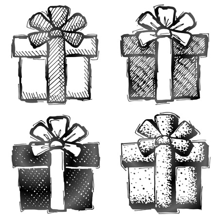 donative: Hand drawn gift box. Sketch of gift with bow in doodle style.  Illustration