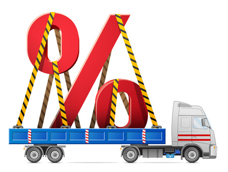 cartage: Road transportation of percentage symbol. Big percent sign in back of truck. Qualitative vector (EPS-10) illustration for banking, financial industry, sale, discount, calculation, etc