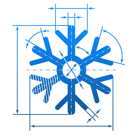 cad drawing: Snowflake symbol with dimension lines. Element of blueprint drawing in shape of snow sign.
