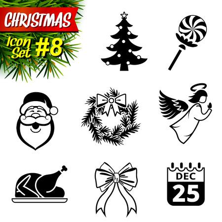 Set of black-and-white christmas icons