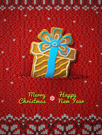 knitted background: Gift box cookie on knitted background