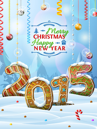 New Year 2015 in shape of gingerbreads in snow Vector