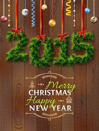 silvester: New Year 2015 of twigs like christmas decoration. Christmas congratulation against wood background. Qualitative vector (EPS-10) illustration for new years day, christmas, winter holiday, new years eve, silvester, etc Illustration