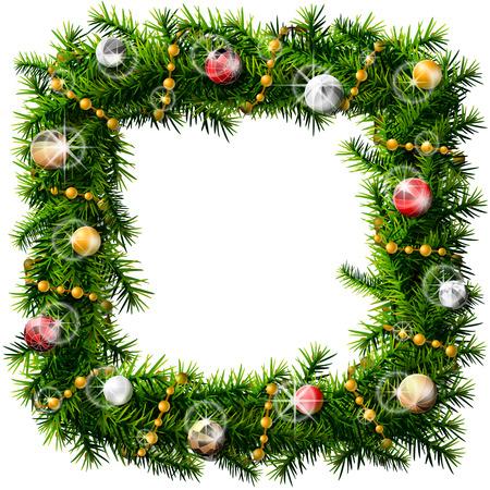 크리스마스 사각 헌화 장식 구슬 및 공입니다. 흰색 배경에 고립 된 소나무 분기의 장식 된 화 환. 크리스마스, 장식, 겨울 휴가, 디자인, silvester, 등등 일러스트