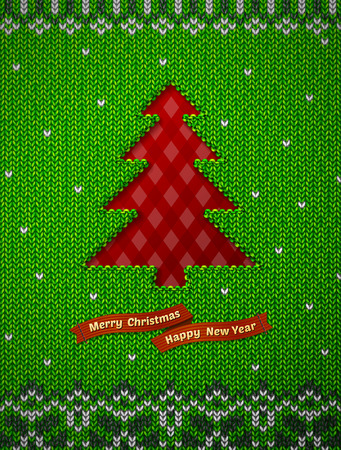 spruce thread: Christmas tree like hole in knitted background. Jumper fragment with pine symbol. Qualitative vector (EPS-10) illustration for christmas, new years day, winter holiday, new years eve, silvester, etc Illustration