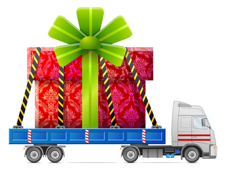 Road transportation of gift box. Big gift in back of truck.