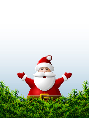 silvester: Santa Claus with his hands up is behind pine branches.     Illustration