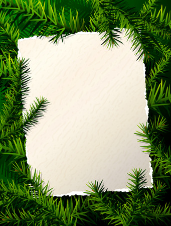 Paper for christmas list against pine branches. Christmas template with christmas tree twigs. Qualitative vector (EPS-10) layout for new years day, christmas, winter holiday, new years eve, silvester, etc