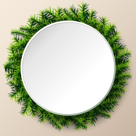 크리스마스 트리의 나뭇 가지의 빈 라운드 프레임. 소나무 지사와 함께 크리스마스 템플릿. 새로운 년 데이, 크리스마스, 겨울 방학, 새로운 년 이브,  일러스트