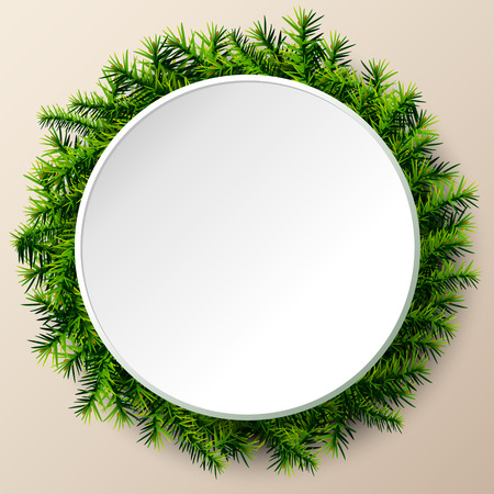 silvester: Empty round frame of christmas tree twigs. Christmas template with pine branches. Qualitative vector (EPS-10) layout for new years day, christmas, winter holiday, new years eve, silvester, etc