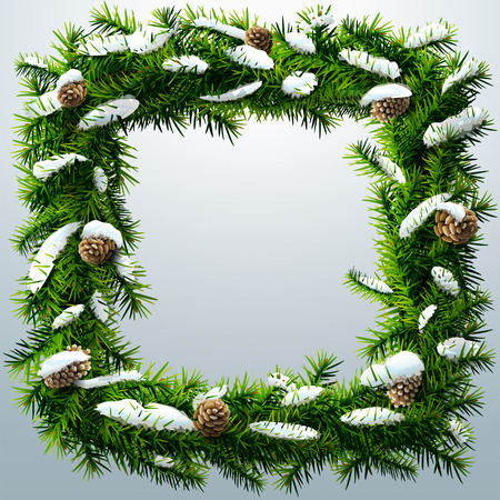 silvester: Christmas square wreath with snow and pinecones. Wreath of pine branches after snowfall. Qualitative vector (EPS-10) illustration for new years day, christmas, decoration, winter holiday, design, silvester, etc