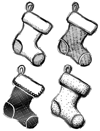 Hand drawn christmas stocking. Sketch of decorative socks in doodle style. Qualitative vector (EPS-10) illustration for christmas, new years day, winter holiday, decoration, silvester, clothing, etc