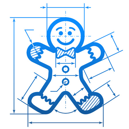 Gingerbread man with dimension lines. Element of blueprint drawing in shape of holiday cookie. Qualitative vector (EPS-10) illustration for new years day, christmas, decoration, winter holiday, design, new years eve, silvester, etc