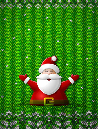 sinterklaas: Santa Claus with his hands up on knitted background. Jumper fragment with Santa and ornament. Qualitative vector (EPS-10) illustration for new years day, christmas, winter holiday, new years eve, silvester, etc
