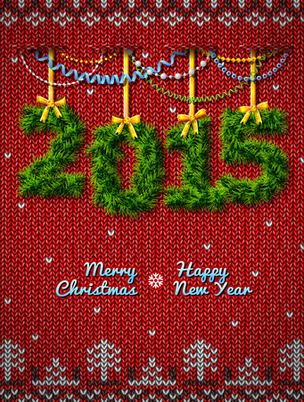stockinet: New Year 2015 of twigs like christmas decoration. Christmas congratulation against knitted background. Qualitative vector (EPS-10) illustration for new years day, christmas, winter holiday, new years eve, silvester, etc