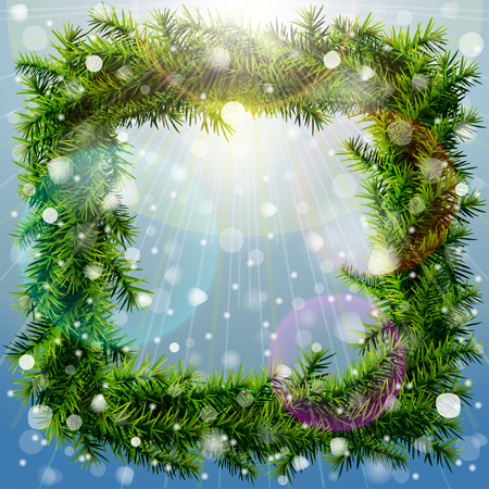silvester: Christmas square wreath with overhead lighting and snowfall. Wreath of pine branches without decoration. Qualitative vector (EPS-10) illustration for new years day, christmas, decoration, winter holiday, design, new years eve, silvester, etc Illustration