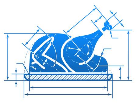치수 선 크리스마스 칠면조 기호. 칠면조 구이 기호의 모양에 그리기 청사진의 요소입니다. 질적 벡터 (EPS-10) 요리에 대한 그림, 휴일 식사 (크리스마스