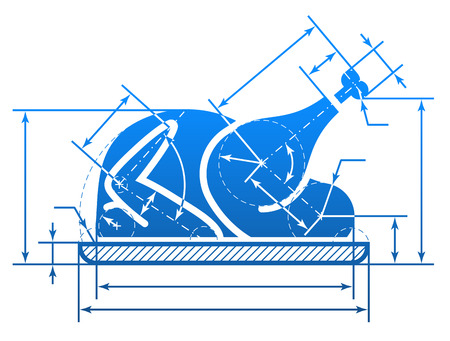 Christmas whole turkey symbol with dimension lines. Element of blueprint drawing in shape of roast turkey sign. Qualitative vector (EPS-10) illustration about cooking, holiday meals (christmas, thanksgiving), recipes, gastronomy, food, restaurant, etc Ilustração