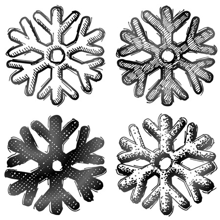 silvester: Hand drawn snowflake symbol. Sketch of snow sign in doodle style. Qualitative vector (EPS-10) illustration for new years day, christmas, weather, winter holiday, new years eve, winter recreation, etc Illustration