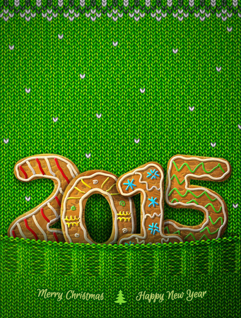 holiday food: New Year 2015 in shape of gingerbreads in knitted pocket. Jumper fragment with year number like cookies. Qualitative vector (EPS-10) illustration for new years day, christmas, cooking, winter holiday, food, silvester, etc