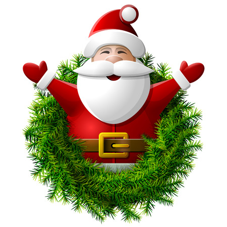 Santa Claus to waist with his hands up. Wreath of christmas tree with Santa. Qualitative vector (EPS-10) illustration for new years day, christmas, winter holiday, new years eve, silvester, etc