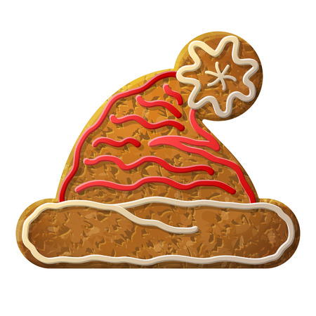 holiday cooking: Gingerbread Santa hat symbol decorated colored icing. Holiday cookie in shape of christmas hat sign. Qualitative vector (EPS-10) design element for new years day, christmas, winter holiday, cooking, new years eve, food, silvester, etc
