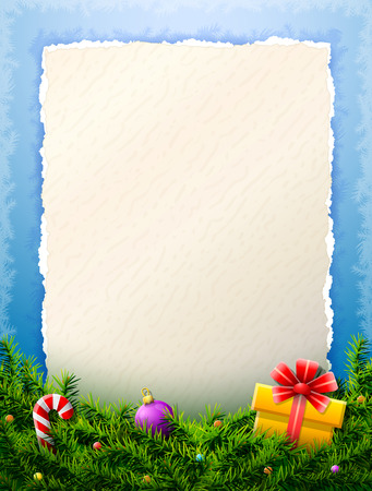 Paper for christmas list is behind pine branches. Christmas template with blank paper and christmas decoration.