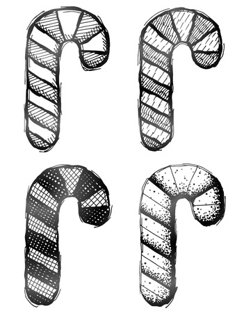 candy stick: Hand drawn candy cane. Sketch of candy stick in doodle style.