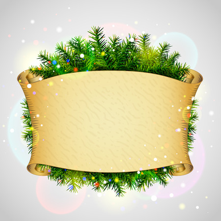 Paper scroll for christmas list with pine branches. New Year template with blank parchment and christmas tree twigs. Qualitative vector (EPS-10) illustration for new years day, christmas, winter holiday, new years eve, silvester, etc Stock Vector - 33976523