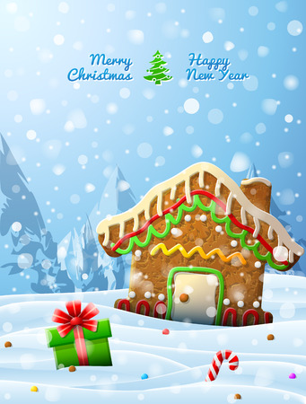 Gingerbread house decorated icing are in snow. Winter landscape with cookie, gift, candy cane. Qualitative vector (EPS-10) illustration for christmas, new years day, winter holiday, new years eve, silvester, etc Illustration