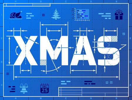 청사진 그리기 등의 단어 XMAS. 청사진 종이에 크리스마스의 양식에 일치시키는 제도. 질적 벡터 (EPS-10) 크리스마스 그림, 새로운 년 하루, 겨울 휴가, 새 일러스트
