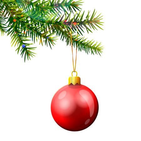흰색으로 격리 bauble와 크리스마스 트리 분기합니다. 빨간 크리스마스 공 소나무 나뭇 가지에 매달려입니다. 크리스마스, 새로운 년 하루, 겨울 휴가,  일러스트