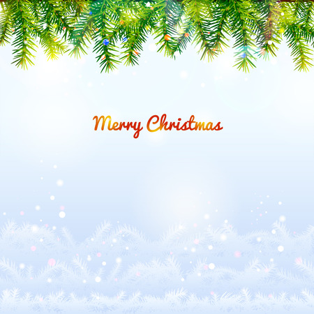 rime frost: Holiday background with top pine branches and bottom twigs silhouette. Christmas tree top border and blue backdrop. Qualitative vector (EPS-10) background for christmas, new years day, winter holiday, design, new years eve, silvester, etc