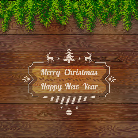 pine boughs: Wooden background with top pine branches. Christmas tree twigs over wood texture. Qualitative vector (EPS-10) background for christmas, new years day, winter holiday, design, new years eve, silvester, etc Illustration