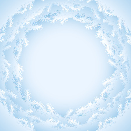 rime: Abstract background with pine branches silhouette. Round frame of blue christmas tree twigs. Qualitative vector (EPS-10) background for christmas, new years day, winter holiday, design, new years eve, silvester, etc