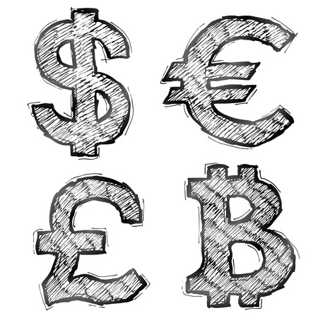 qualitative: Hand drawn money symbols with hatching. Sketch of currency signs in doodle style. Qualitative vector illustration for banking, financial industry, economy, accounting, currency markets, etc