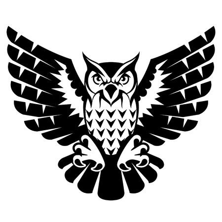 Eule mit offenen Flügeln und Klauen. Schwarz-Weiß-Tattoo der Uhu, der Vorderansicht. Qualitative Vektor-Illustration für Zirkus, Sportmaskottchen, Zoo, Tiere, Natur, etc.