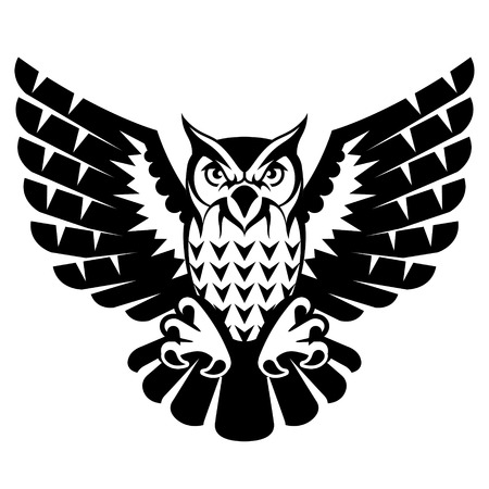 Owl with open wings and claws. Black and white tattoo of eagle owl, front view. Qualitative vector illustration for circus, sports mascot, zoo, wildlife, nature, etc Ilustração