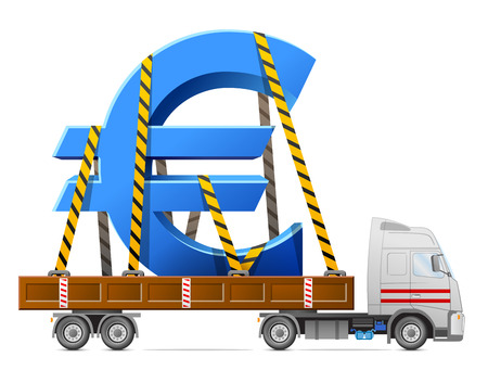 increment: Road transportation of euro symbol. Big sign of money in back of truck. Qualitative vector illustration for banking, financial industry, money, economy, accounting, etc Illustration