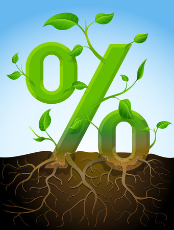 Growing percentage symbol like plant with leaves and roots. Stylized plant in shape of percent sign in ground. Qualitative vector illustration for banking, financial industry, sale, discount, calculation, etc
