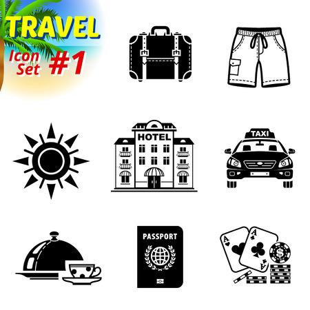 Satz von Schwarz-Weiß Reise-Ikonen. Vektor-Sammlung von Symbolen für Tourismus und Urlaub. Qualitative Vektor Zeichen über Reisen, Hotel, Tourismus, Urlaub, Reise, Buchung, etc.