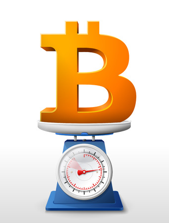 weighing scale: Bitcoin sign on scale pan. Weighing money symbol on scales. Qualitative vector illustration for banking, financial industry, cryptocurrency, economy, accounting, etc Illustration