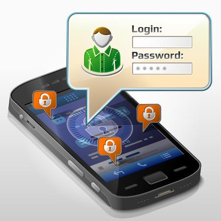 pop up: Smartphone met tekstballon over login. Dialoogvenster pop-up op het scherm van de telefoon. Kwalitatieve vector illustratie over smartphone, aanmelden, mobiele technologie, autorisatie, identificatie, etc Stock Illustratie