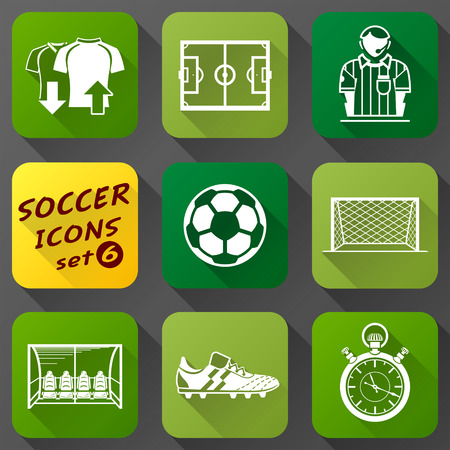 cleats: Flat icons set of soccer elements