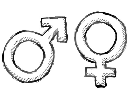 sex man: Hand drawn gender symbols. Sketch of man and woman signs in doodle style. Qualitative vector illustration about man, woman, sex differences, relationship, gender role, sexual orientation, etc