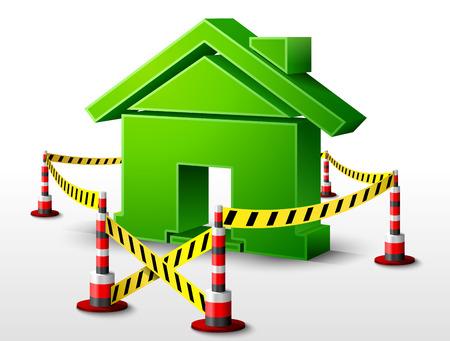area restringida: S�mbolo de la casa ubicada en zona restringida. Muestra casera rodeado cinta de barrera. Ilustraci�n vectorial cualitativa sobre arquitectura, construcci�n, bienes ra�ces, construcci�n, desarrollo, actualizaci�n, la vivienda, etc.