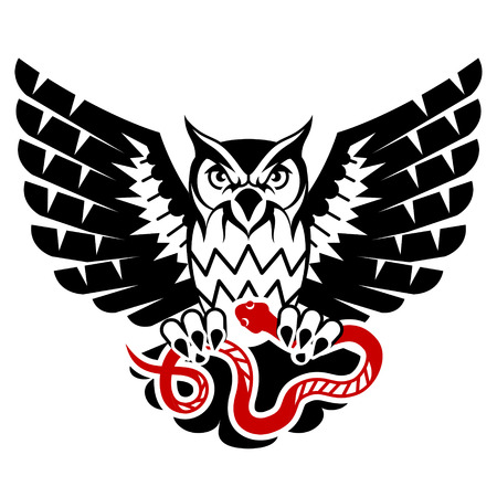 Owl with open wings attacking snake. Tattoo of black eagle owl and red serpent. Qualitative vector illustration for hunting, sports mascot, zoo, wildlife, nature, etc